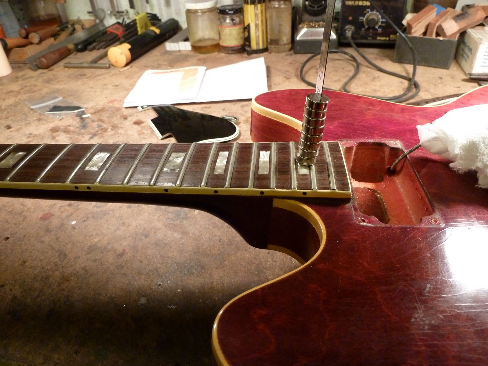 daily guitar repair tricky truss rod repair on a 60 39 s gibson 335 12 string. Black Bedroom Furniture Sets. Home Design Ideas
