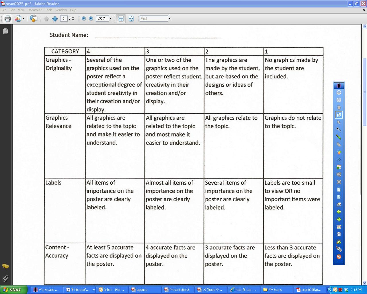 Mrtoneyhomeroom Rubric For Poster
