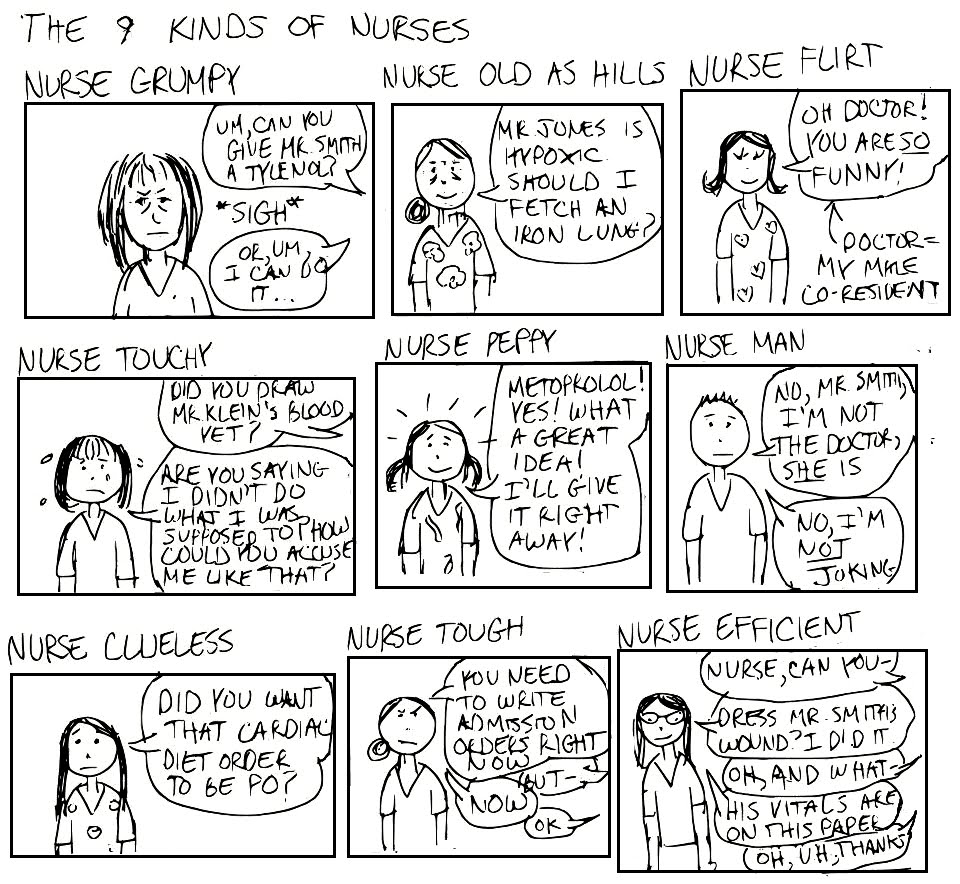 A Cartoon Guide to Becoming a Doctor: The 9 Types of Nurses