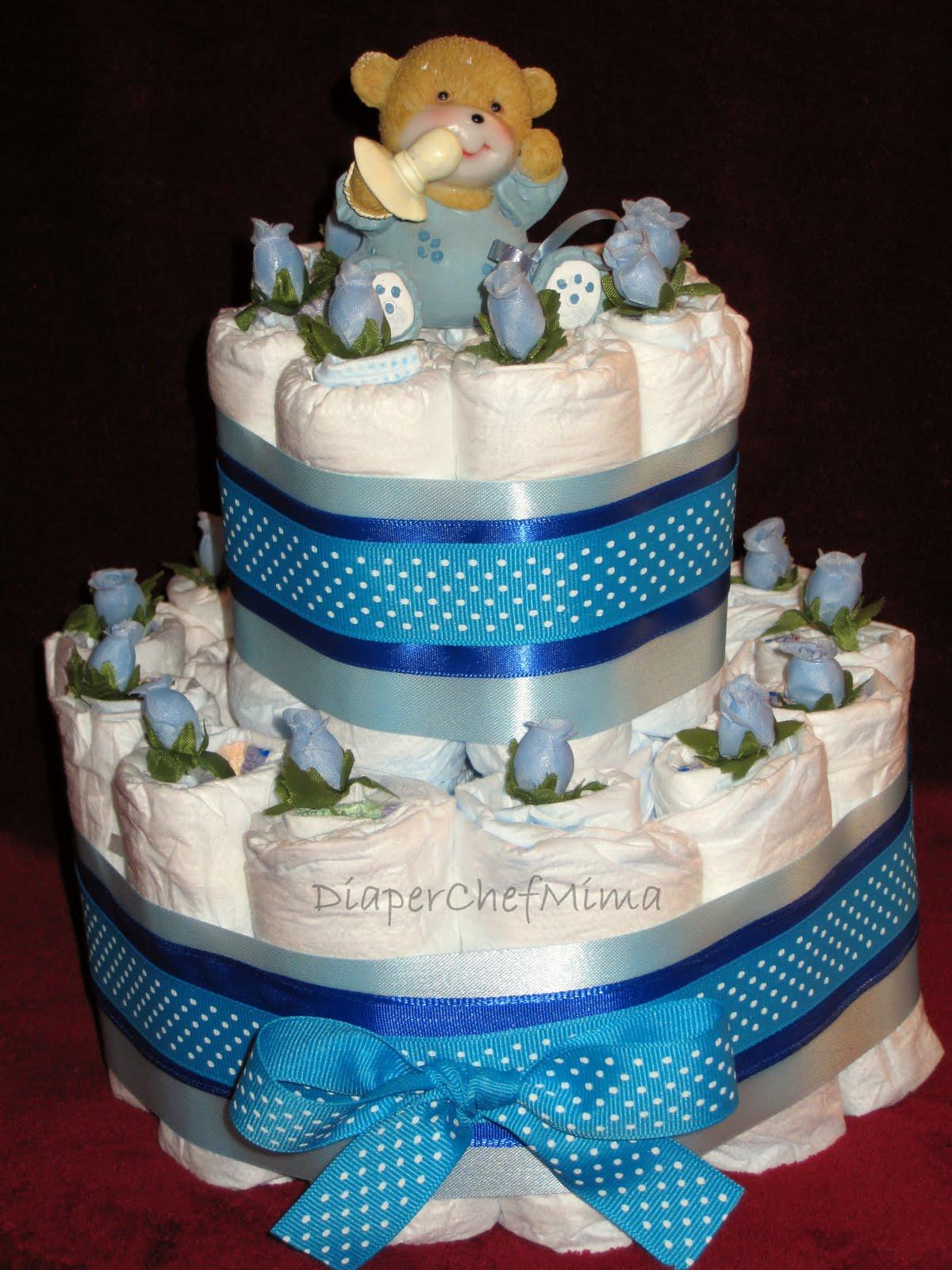 Diaper Chef Mima: Baby Shower Diaper Cake Centerpieces