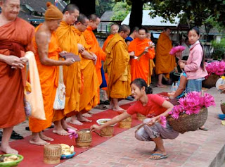 Alms Giving Luang Prabang Laos Buddhist Monks