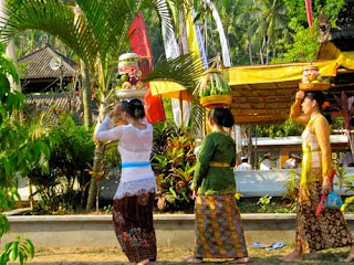 Women Taking Offerings Temple Bali Indonesia
