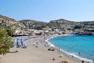 Beach Matala Crete Greece