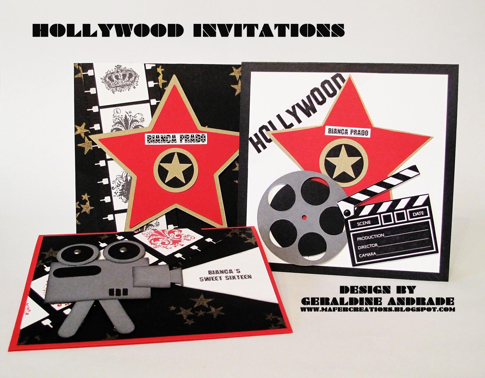 Mafer S Creations Tarjetas De Invitacion Al Estilo Hollywood