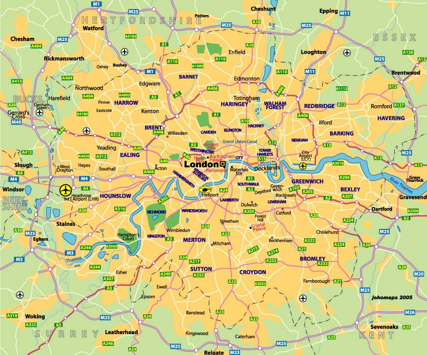 Map Of London And Surrounding Suburbs.2010 September Interstudy Study Abroad