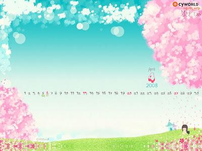 Background Pro Stylish April 2008 Calendar