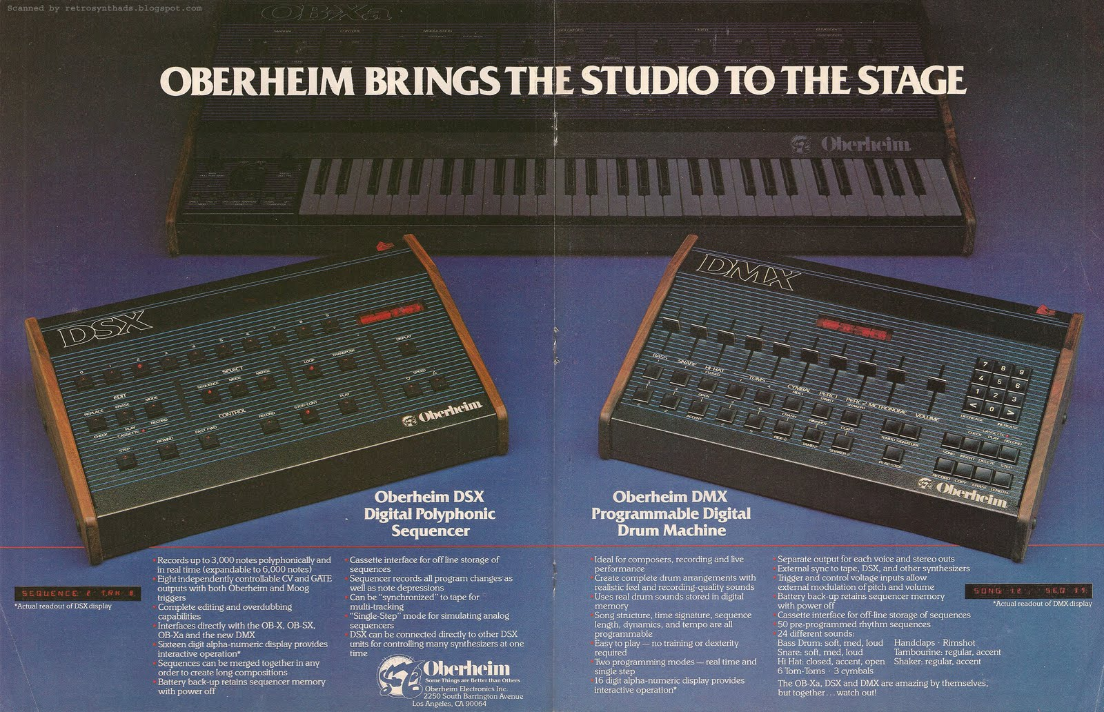 retro synth ads oberheim dsx sequencer and dmx drum machine keyboard 1981. Black Bedroom Furniture Sets. Home Design Ideas