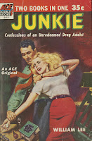 "A cover for the pulp paperback ""Junkie,"" featuring a man wrestling a hypodermic from a woman."