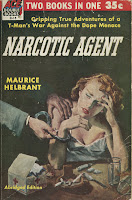 "The cover for the pulp paperback ""Narcotic Agent,"" featuring a woman seated at a table covered in cigarettes and a needle, as the hands of a man come into view and place handcuffs on one wrist."