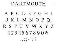 "The word ""Dartmouth,"" followed by the full alphabet, numbers, and punctuation marks, arranged in six rows. The typeface is a serif font in all capital letters."