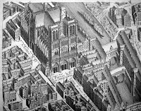 An illustrated aerial view of Paris, with Notre Dame as the central feature.