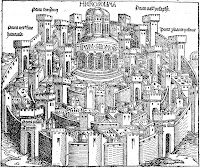 A woodcut showing a walled city.