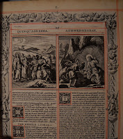 A page printed in black with red accents. It shows two columns of text, a pair of biblical illustrations, decorative initials, and a decorative border.