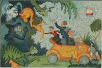 A colorful puzzle showing a family in a car escaping an assortment of beasts.