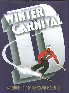 "A dark purple poster featuring the words ""Winter Carnival"" over a large capital ""D,"" all in white. Over the lettering is a stylized image of a skier. The bottom of the poster reads ""A century of Dartmouth posters."""
