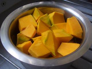 cubed parangikkai, yellow pumpkin