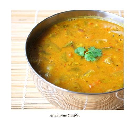 Arachuvitta sambar recipe, Sambar with fresh ground masala - Raks ...