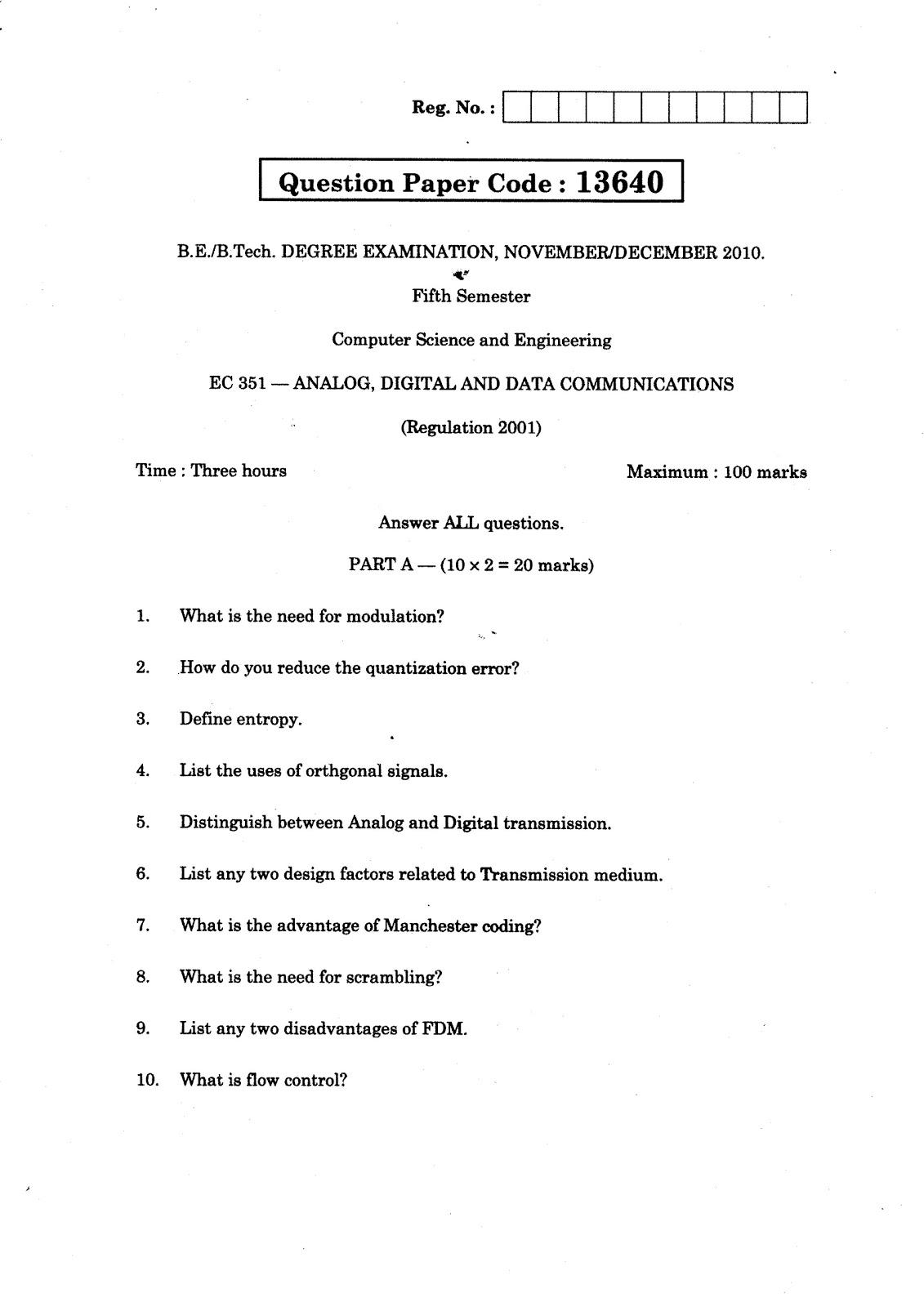 Anna University Question Bank Analog Digital And Data