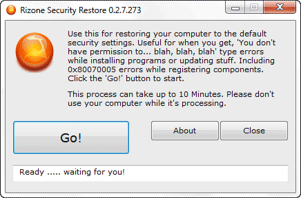 rizone security restore