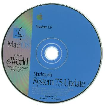 Apple System 7.5 Update, with eWorld.