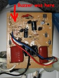 PCB showing removed buzzer