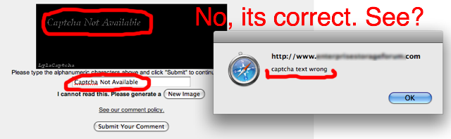 Captcha Not Available