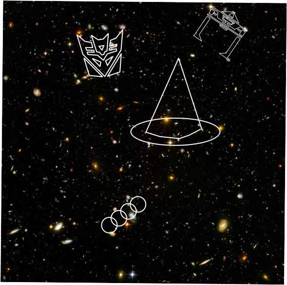 Hubble starfield image superimposed with decepticon, tron recognizer, wizard hat