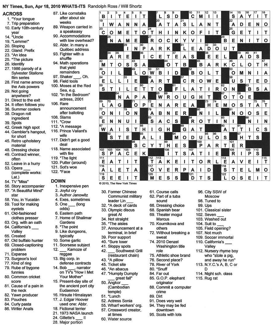 times york crossword sunday puzzle puzzles enlarge april