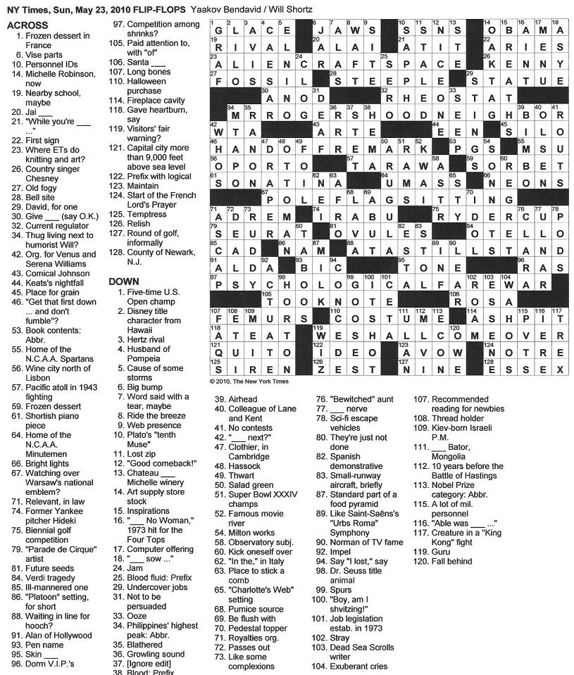 The New York Times Crossword in Gothic: 05.23.10 — Word