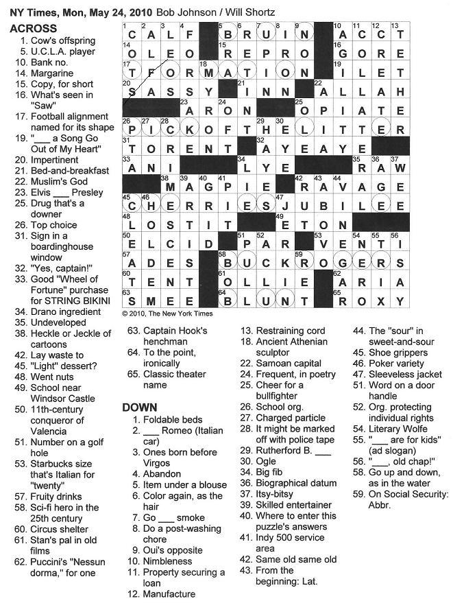The New York Times Crossword in Gothic: 05.24.10 — To the