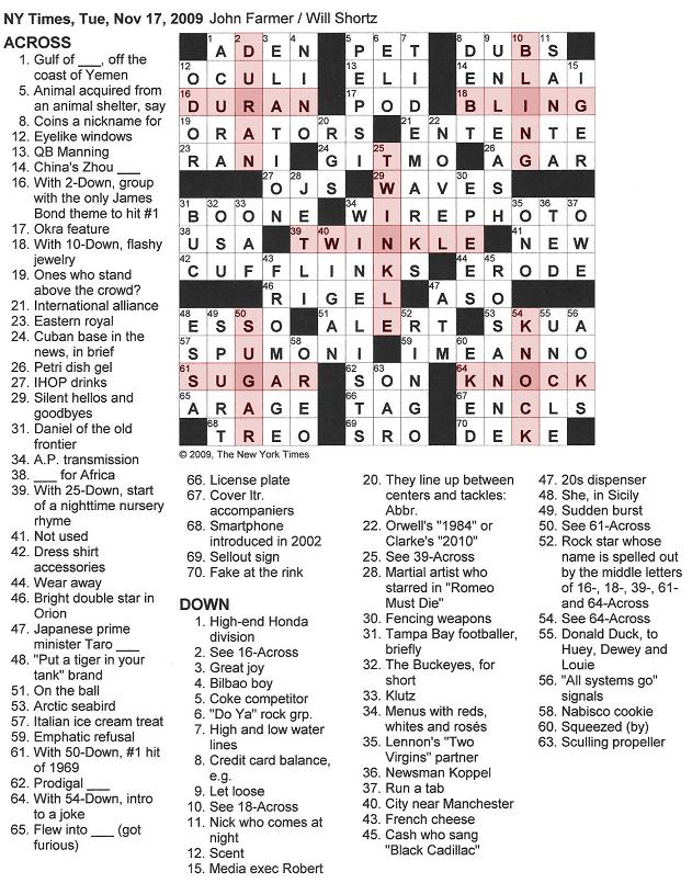 The New York Times Crossword in Gothic: 11.17.09 -- RINGO