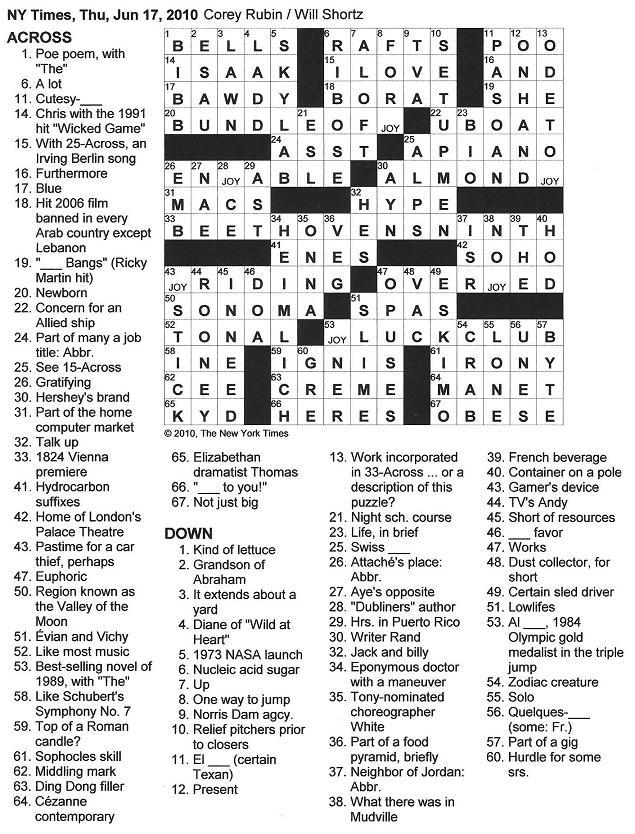 The New York Times Crossword in Gothic: 06.17.10 — JOY