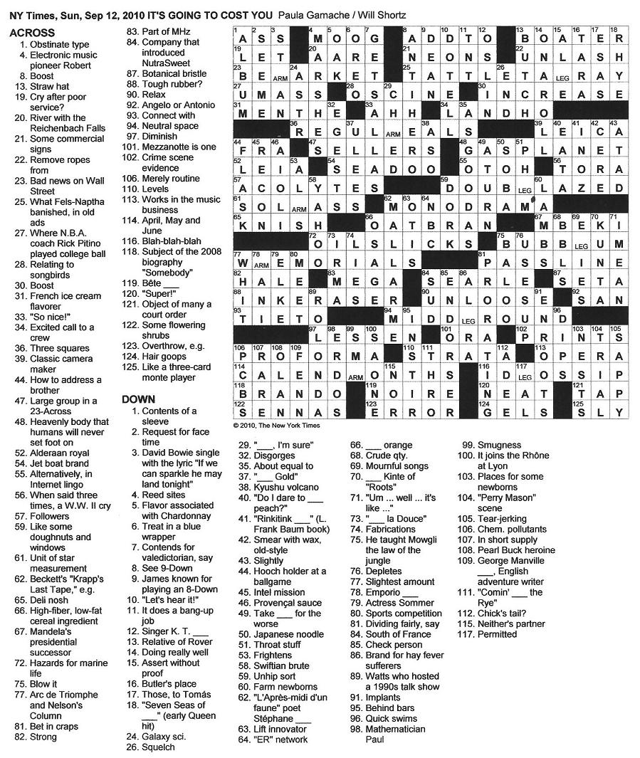 The New York Times Crossword in Gothic: 09.12.10 — It's ...