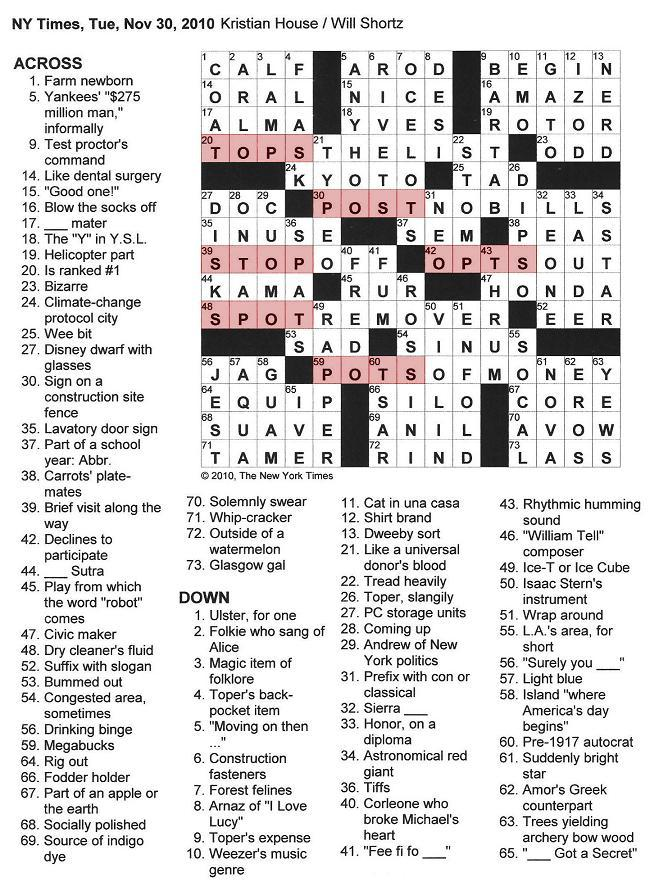 The New York Times Crossword in Gothic: 11.30.10 — From