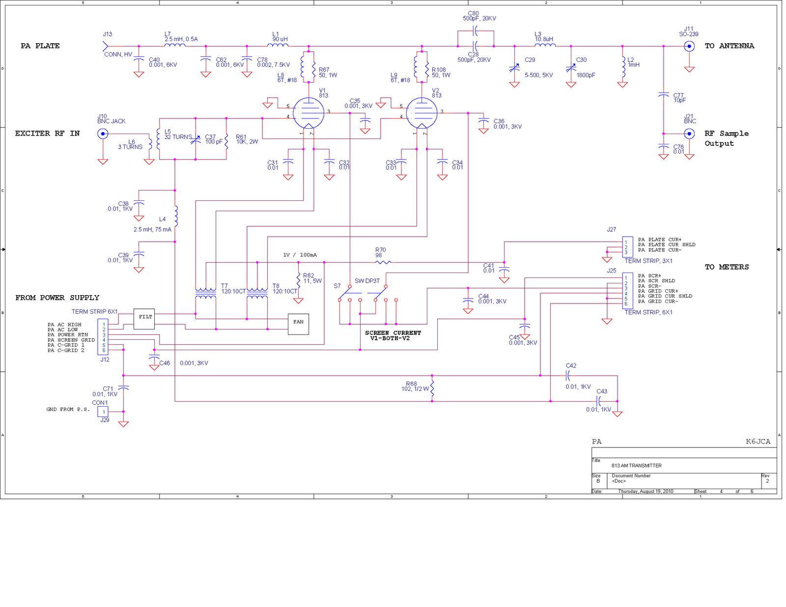 rf modulator hookup diagram club car precedent 4 battery wiring k6jca am transmitter 813 style part 1 pa deck
