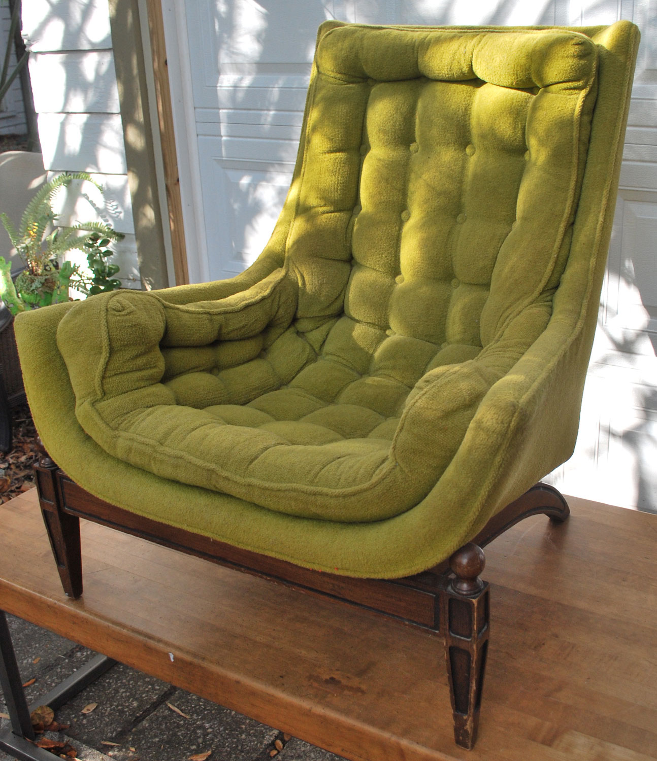 Olive Green Accent Chair Posture Modern Junk2funk Vintage