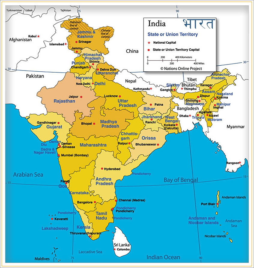 Latest India Map.Map Of India States And Capital Latest Current Affairs And Gk
