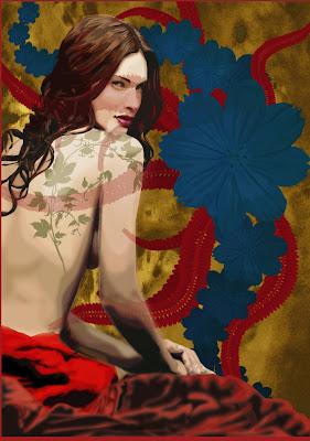 ilustração vetorial - Mulher e Flores