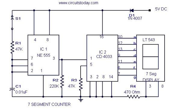 Circuit Theory 7 Segment Counter Circuit