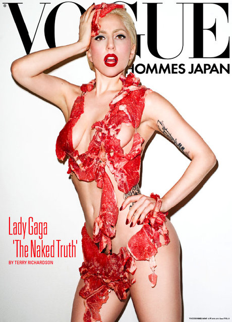 Lady Gaga wearing meat bikini for Vogue Manazine