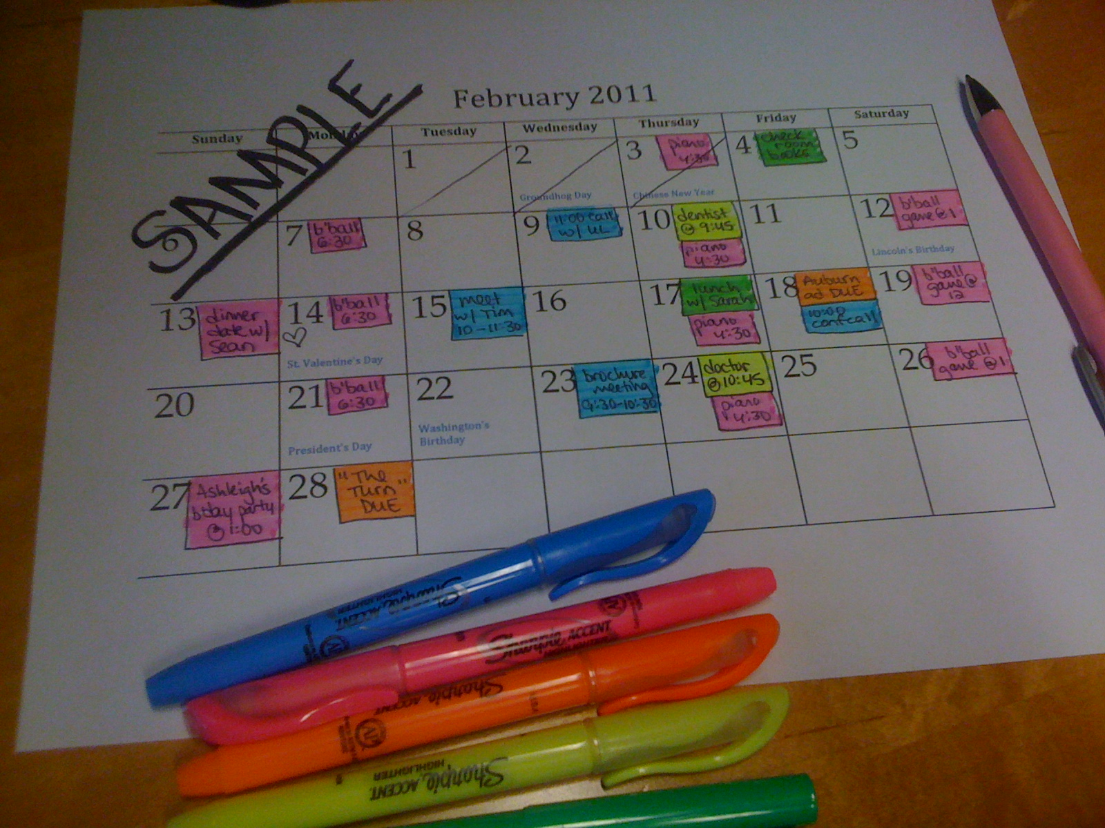 The Neat Get Neater: Day 82: Color Code Your Calendar