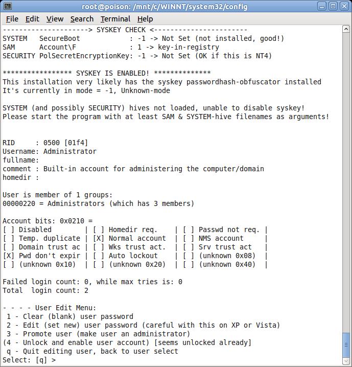 reset windows xp password using linux