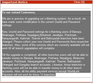NIBL's important notice regarding ebanking