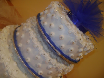 Marilyn S Caribbean Cakes Blue White And Silver 3 Tiered