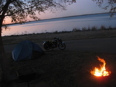 fire at night at foss lake campground, site