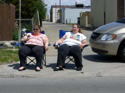 2 fat women in lawn chairs, redford memorial day parade