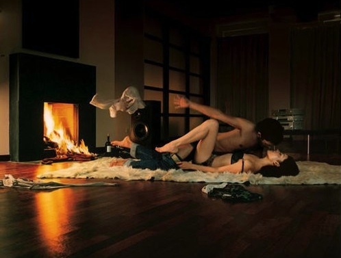 sex in front of fireplace