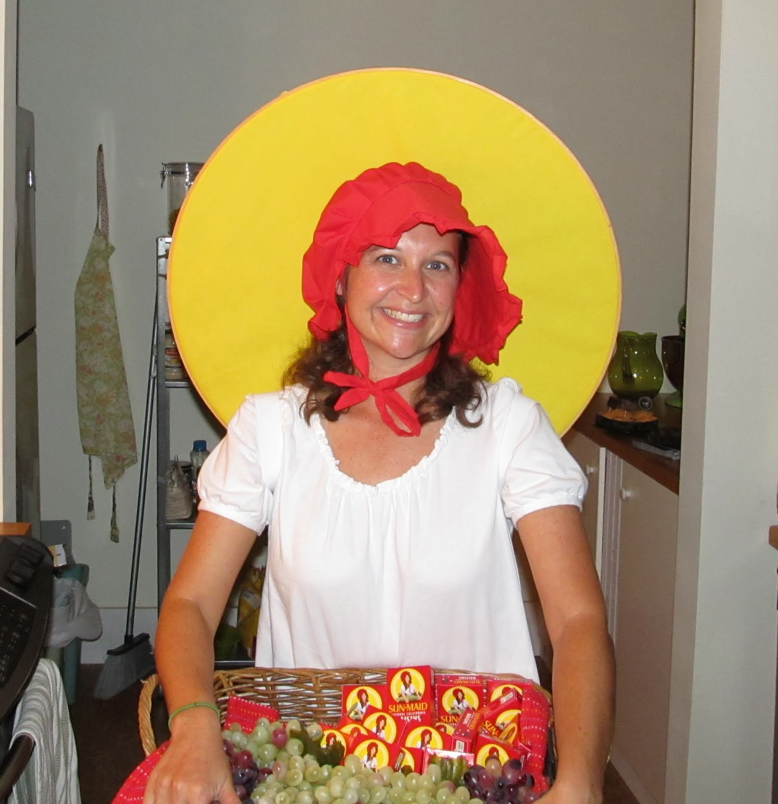 To totally toot my horn this was my best costume ever. Not only was it well-received it was comfortable (jeans and red flip-flops on the bottom).  sc 1 st  A Hoarse Radish & A Hoarse Radish: Halloween: Sun-Maid Raisin Girl!