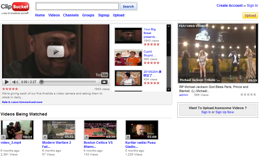 Simplicity youtube template clone for Clip-Bucket » Template