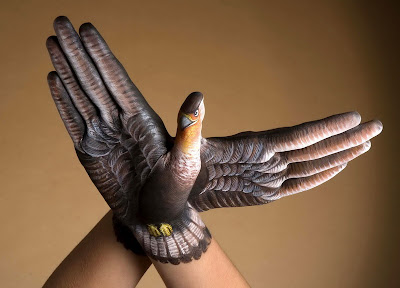 Eagle painted on Human hand